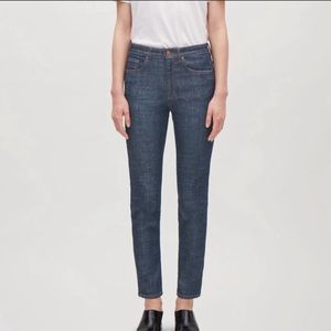 COS High Rise Skinny Fit Cropped Leg Blue Jeans